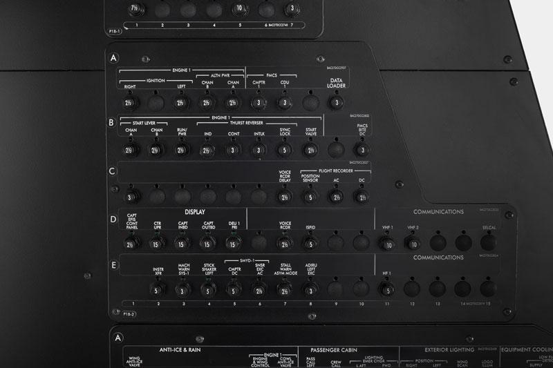 B737NG Circuit breakers wall Captain side   Flight Simulator