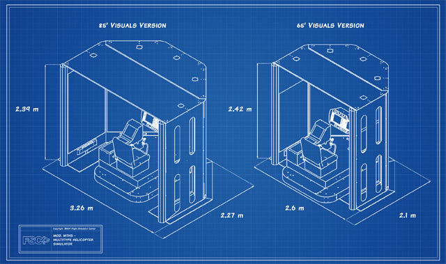 "FSC MTHS 65"" HELICOPTER FLIGHT SIMULATOR BLUEPRINT DIMENSIONS"