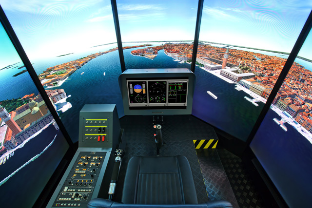 "FSC MTHS 65"" HELICOPTER FLIGHT SIMULATOR INSIDE VIEW"