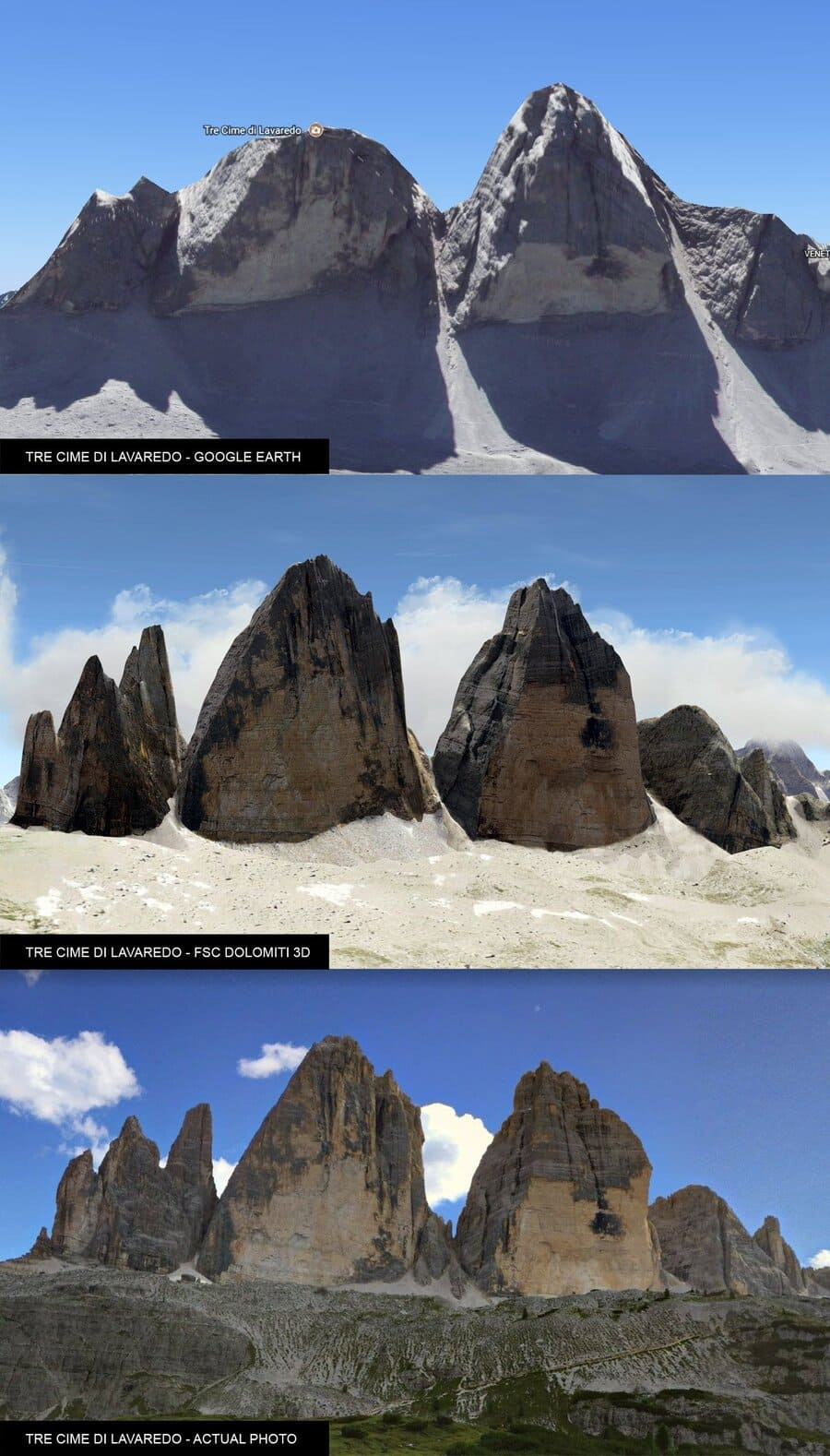 FSC DOLOMITI 3D GOOGLE MAPS PHOTO COMPARISON